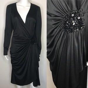 Vintage Style Black Flapper Dress Medium Large